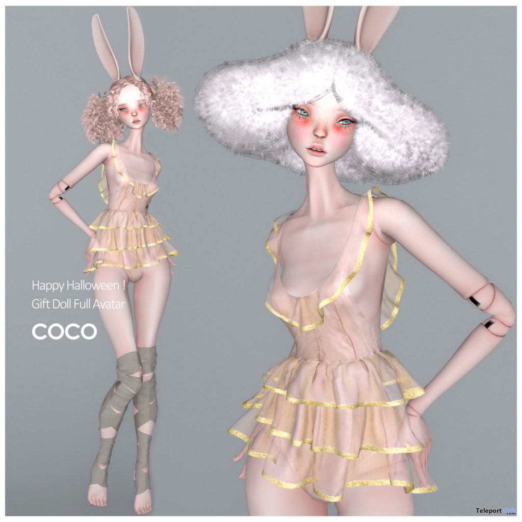 Doll Full Avatar With Clothes & Bunny Ears October 2020 Group Gift by COCO Designs - Teleport Hub - teleporthub.com