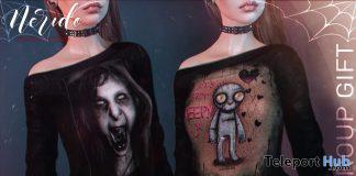 Dalila Tunic Black Creepy & Girl October 2020 Group Gift by Nerido - Teleport Hub - teleporthub.com