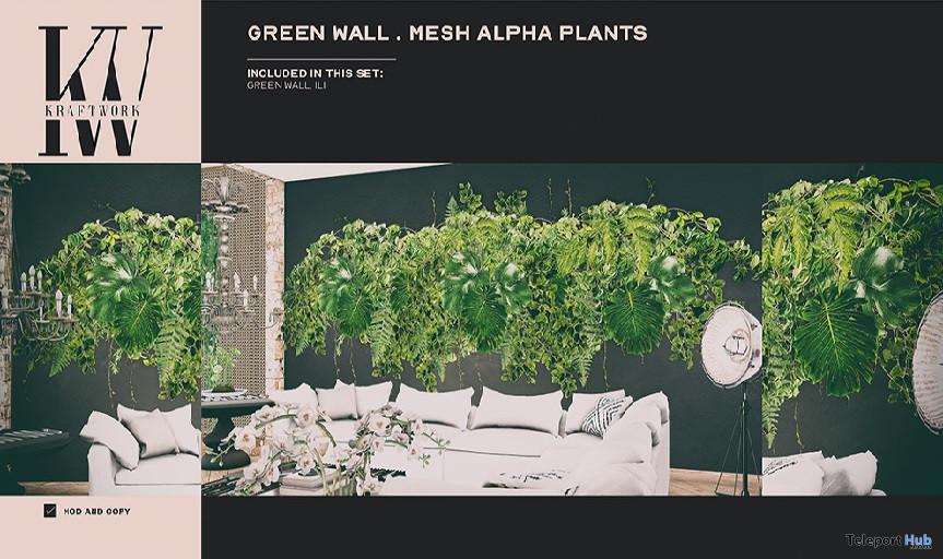 Green Wall Mesh Alpha Plants October 2020 Group Gift by KraftWork - Teleport Hub - teleporthub.com