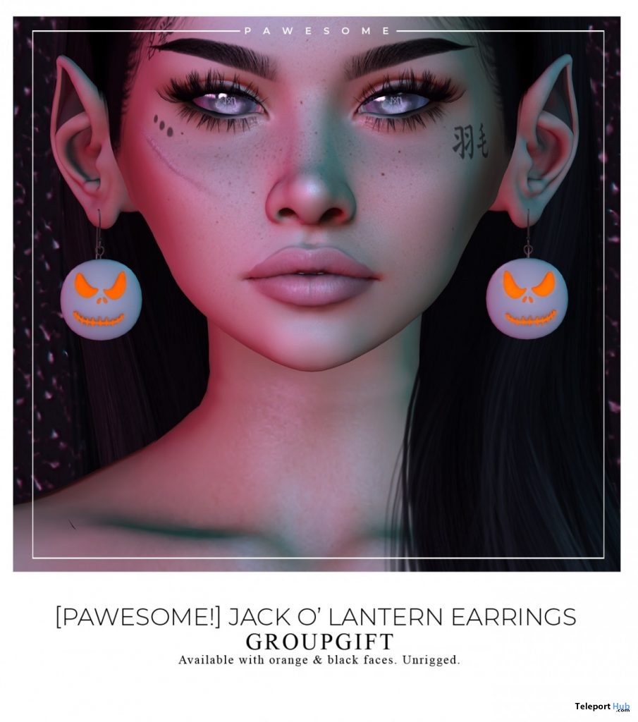 Jack O'Lantern Earrings October 2020 Group Gift by Pawesome! - Teleport Hub - teleporthub.com