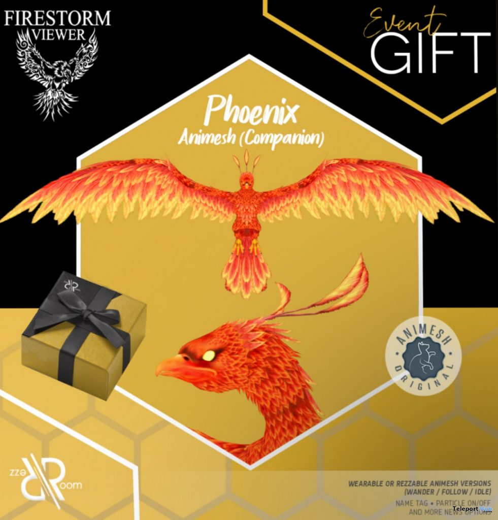 Phoenix Animesh Companion Firestorm 10th Anniversary Event October 2020 Gift by Rezz Room - Teleport Hub - teleporthub.com
