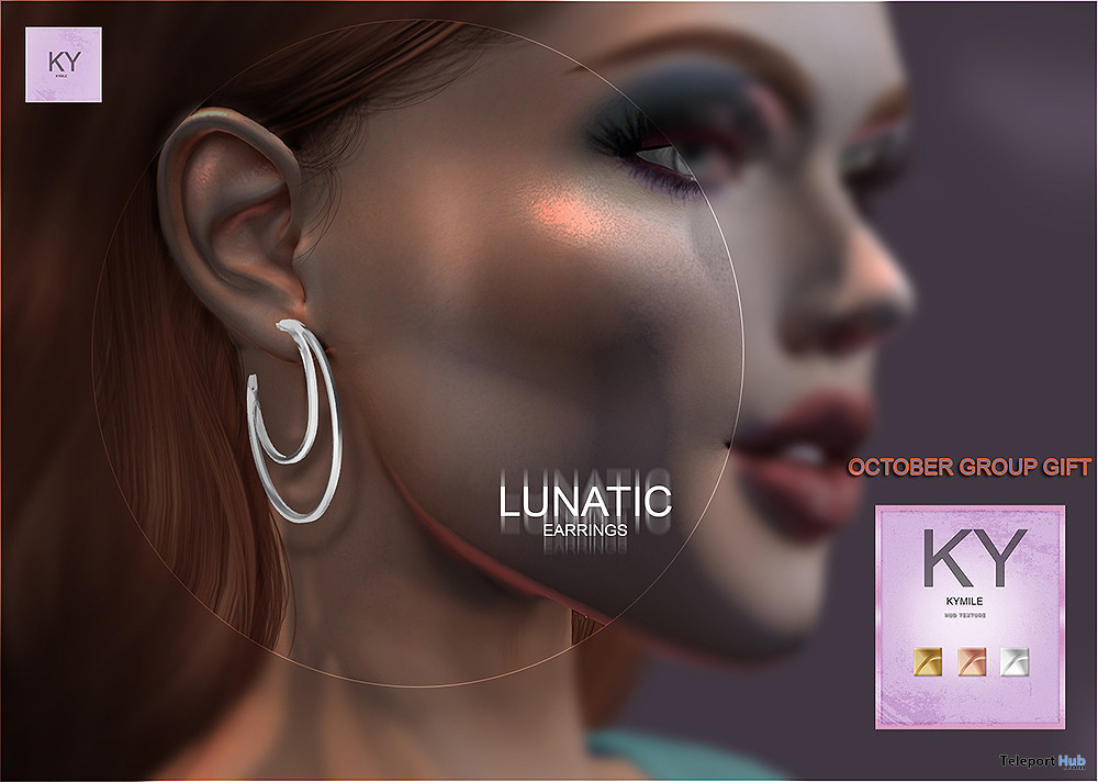 Lunatic Earrings October 2020 Group Gift by KYMILE - Teleport Hub - teleporthub.com