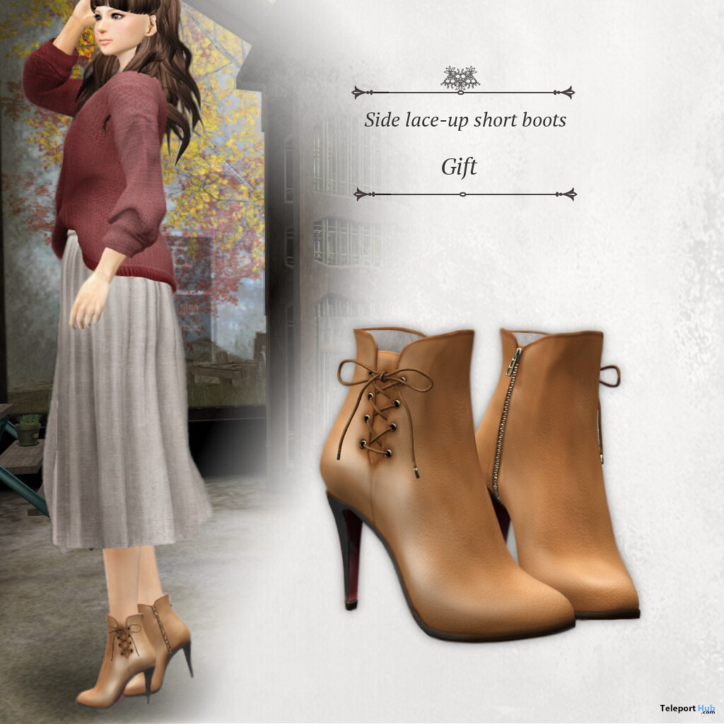 Side Lace-up Short Boots November 2020 Group Gift by S@BBiA - Teleport Hub - teleporthub.com