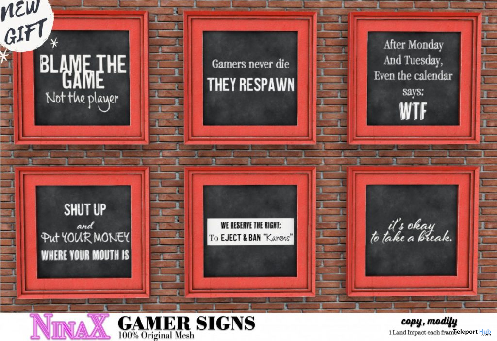 Gamer Signs November 2020 Group Gift by NinaX - Teleport Hub - teleporthub.com