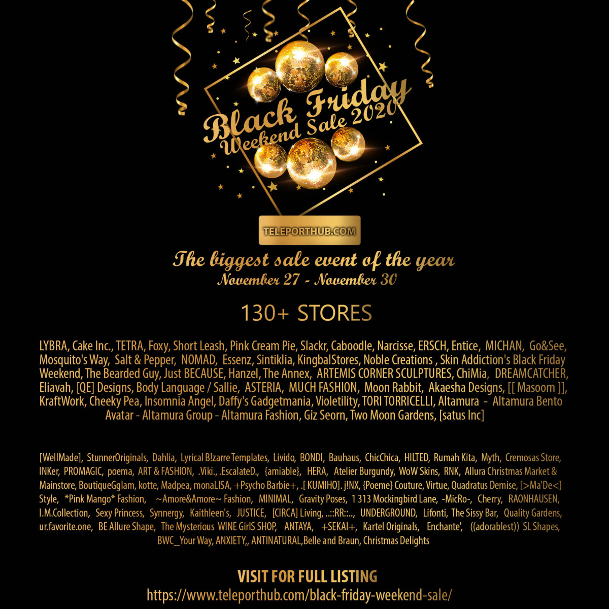 Black Friday Weekend Sale 2020 - Teleport Hub - teleporthub.com