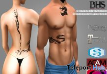 Unisex Tribal Dragon Tattoo November 2020 Group Gift by Bloody Howl Store - Teleport Hub - teleporthub.com