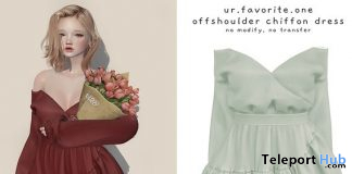 Offshoulder Chiffon Dress November 2020 Group Gift by ur.favorite.one - Teleport Hub - teleporthub.com