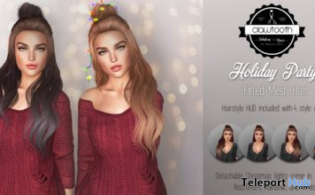 Holiday Party Hair Fatpack November 2020 Gift by Clawtooth - Teleport Hub - teleporthub.com
