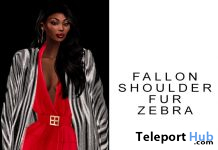 Fallon Shoulder Fur Zebra December 2020 Group Gift by NEVADA PARK - Teleport Hub - teleporthub.com