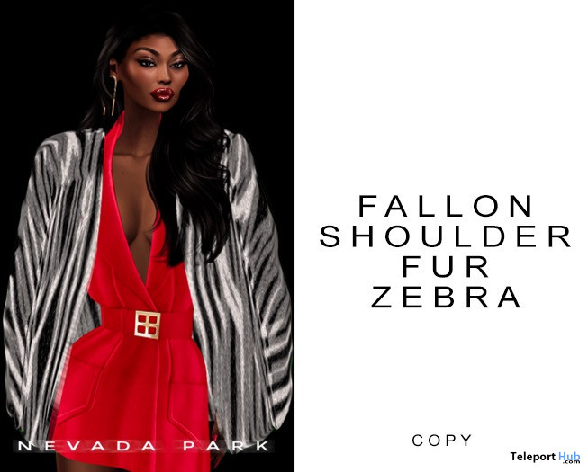 Fallon Shoulder Fur Zebra December 2020 Group Gift by NEVADA PARK - Teleport Hub - teleporthub.com
