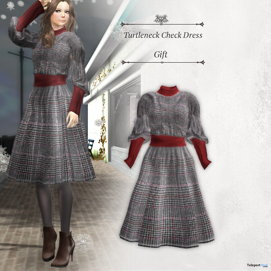 Turtleneck Check Dress January 2021 Group Gift by S@BBiA - Teleport Hub - teleporthub.com