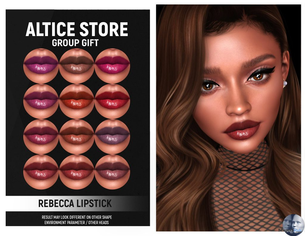 Rebecca Lipstick Pack For Genus Mesh Head January 2021 Group Gift by ALTICE STORE - Teleport Hub - teleporthub.com