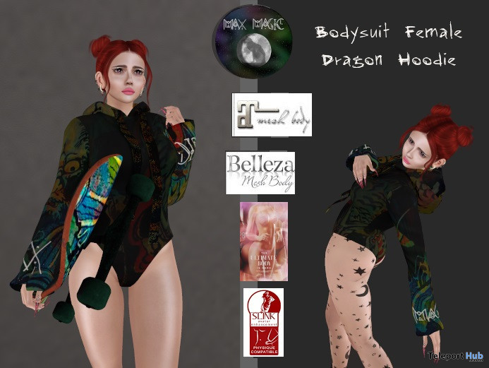 Female Bodysuit Dragon Hoodie January 2021 Group Gift by Max Magic - Teleport Hub - teleporthub.com