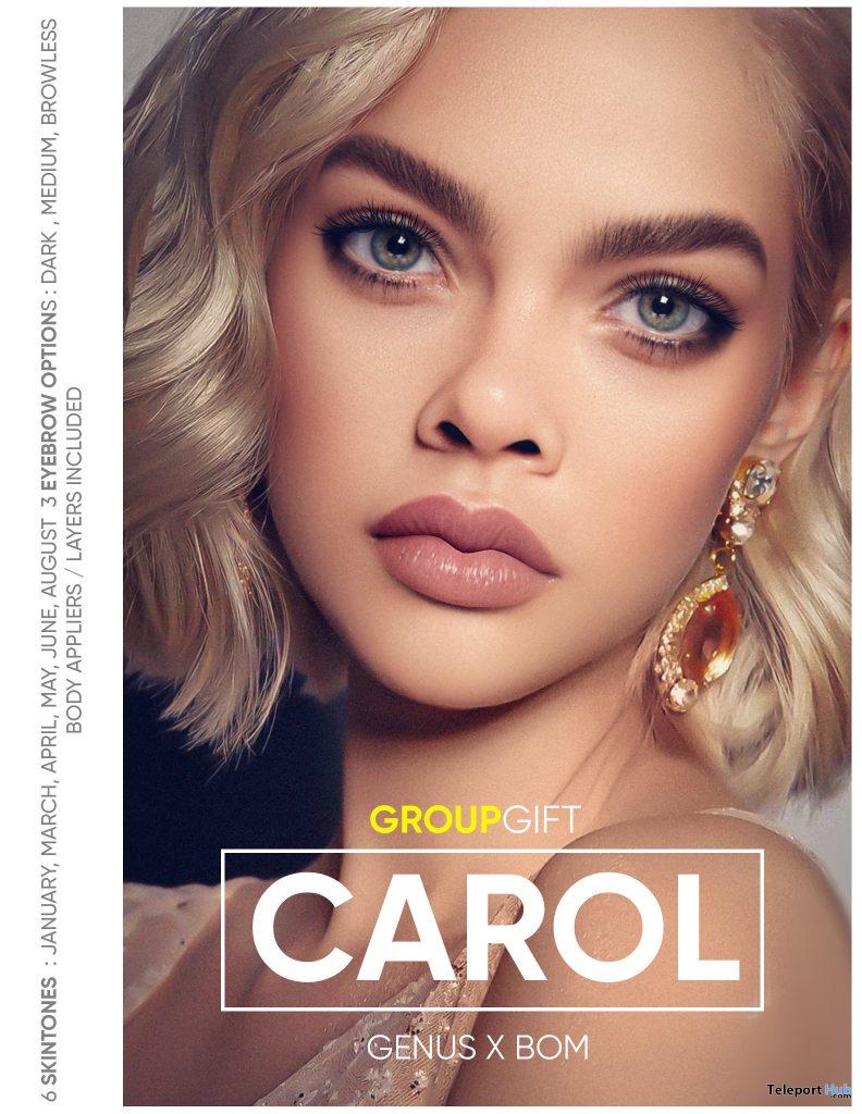 Carol Skin Genus Applier & BOM February 2021 Group Gift by PUMEC - Teleport Hub - teleporthub.com