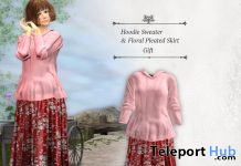 Hoodie Sweater & Floral Pleated Skirt February 2021 Group Gift by S@BBiA - Teleport Hub - teleporthub.com