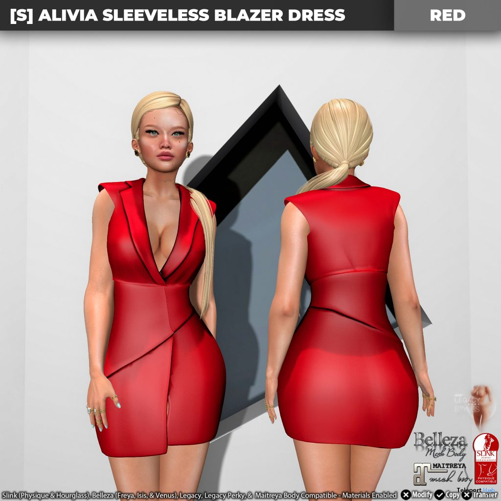 New Release: [S] Alivia Sleeveless Blazer Dress by [satus Inc] - Teleport Hub - teleporthub.com