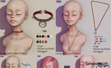 Hair, Choker, & Pendant February 2021 Group Gift by Eternus - Teleport Hub - teleporthub.com