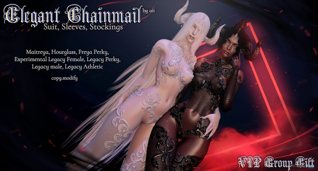 Elegant Chainmail Suit, Sleeves, & Stockings March 2021 Group Gift by Aii - Teleport Hub - teleporthub.com