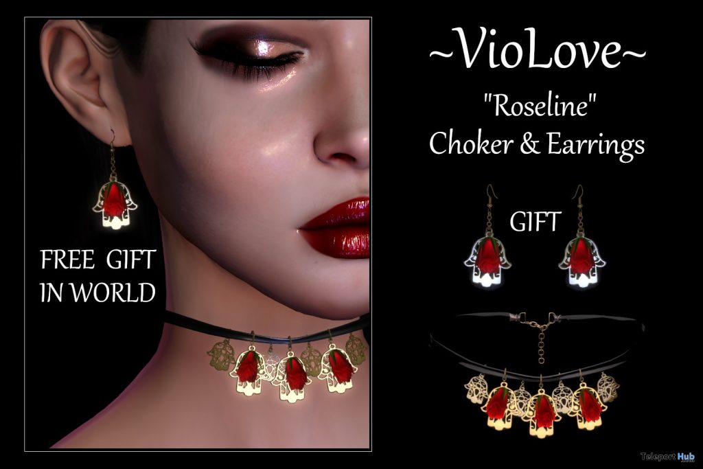 Roseline Choker & Earrings March 2021 Gift by VioLove - Teleport Hub - teleporthub.com