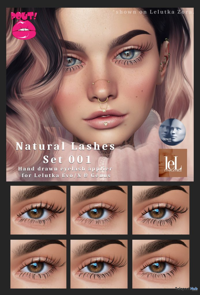 Natural Lash Pack April 2021 Group Gift by POUT! - Teleport Hub - teleporthub.com