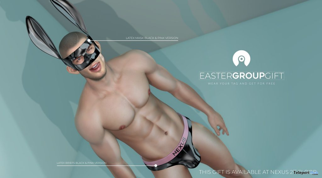 Latex Mask & Briefs Black Pink Version Easter 2021 Group Gift by NeXus - Teleport Hub - teleporthub.com