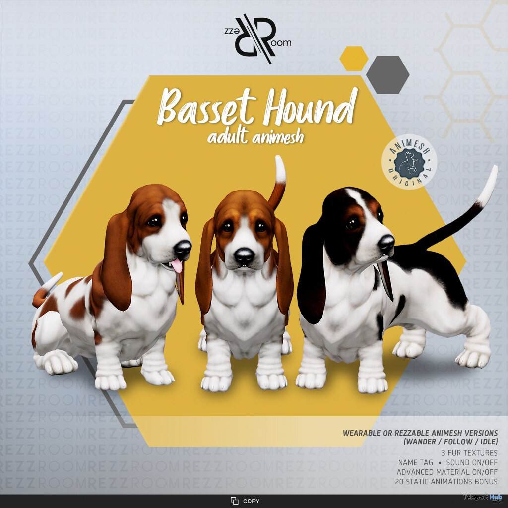 New Release: Basset Hound Animesh Dog by Rezz Room @ Kustom9 April 2021 - Teleport Hub - teleporthub.com