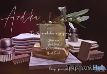 Olive Soap, Nail Brush, Kitchen Brush, & Hand Towel April 2021 Group Gift by Andika - Teleport Hub - teleporthub.com