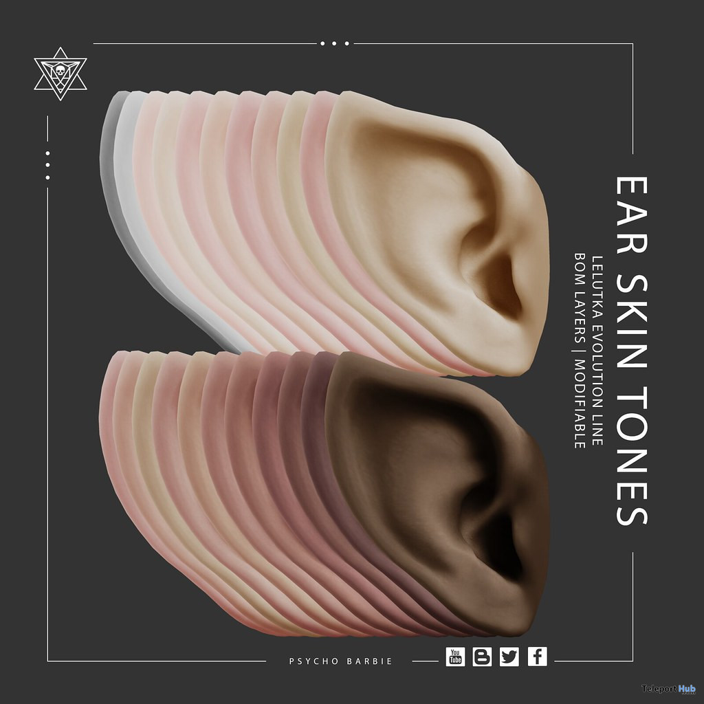 Ear Skin Tones For Lelutka Evo Line Mesh Heads April 2021 Group Gift by Psycho Barbie - Teleport Hub - teleporthub.com
