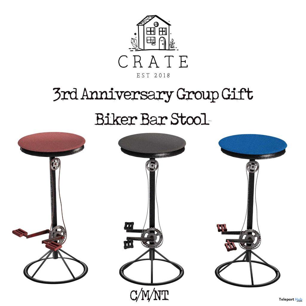 Biker Bar Stools 3rd Anniversary April 2021 Group Gift by crate - Teleport Hub - teleporthub.com