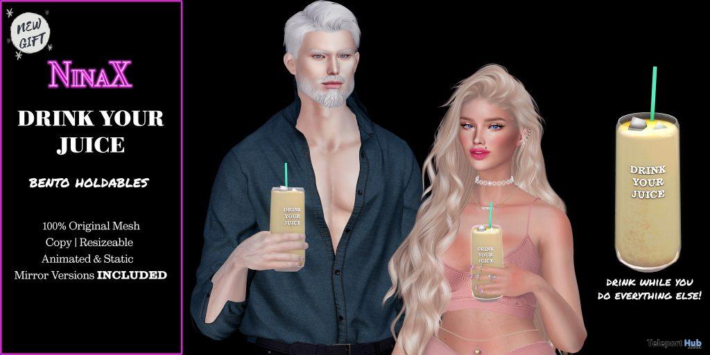 Drink Your Juice & Pose April 2021 Group Gift by NinaX - Teleport Hub - teleporthub.com