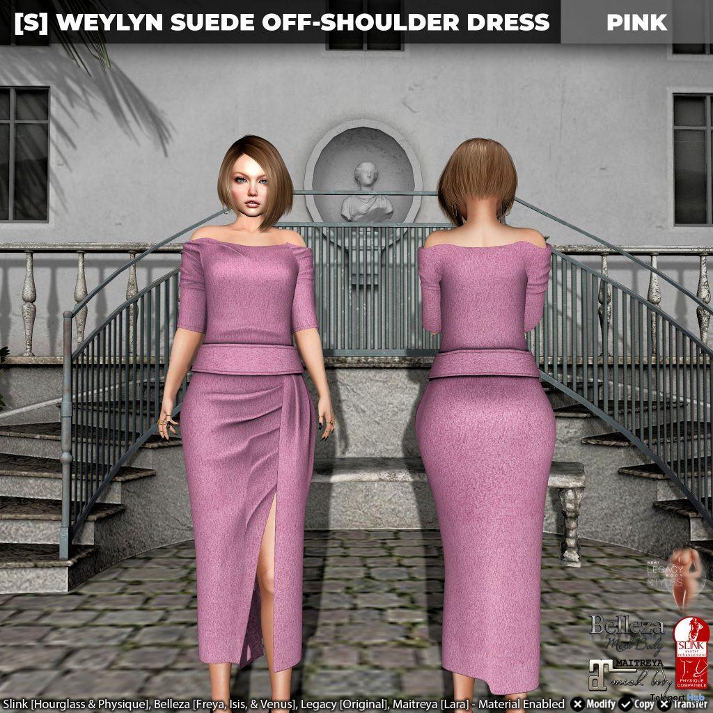 New Release: [S] Weylyn Suede Off-Shoulder Dress by [satus Inc] - Teleport Hub - teleporthub.com