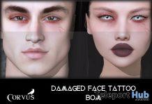 Damaged Face Tattoo BOM April 2021 Group Gift by Corvus - Teleport Hub - teleporthub.com
