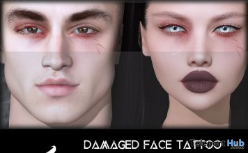 Damaged Face Tattoo BOM April 2021 Group Gift by Corvus - Teleport Hub - teleporthub.com