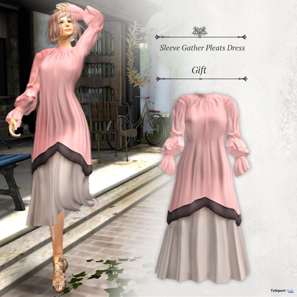 Sleeve Gather Pleats Dress May 2021 Group Gift by S@BBiA - Teleport Hub - teleporthub.com
