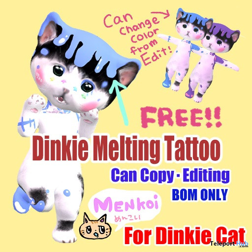 Melting Tattoo For Dinkie Cat Avatar May 2021 Gift by MENKOi - Teleport Hub - teleporthub.com