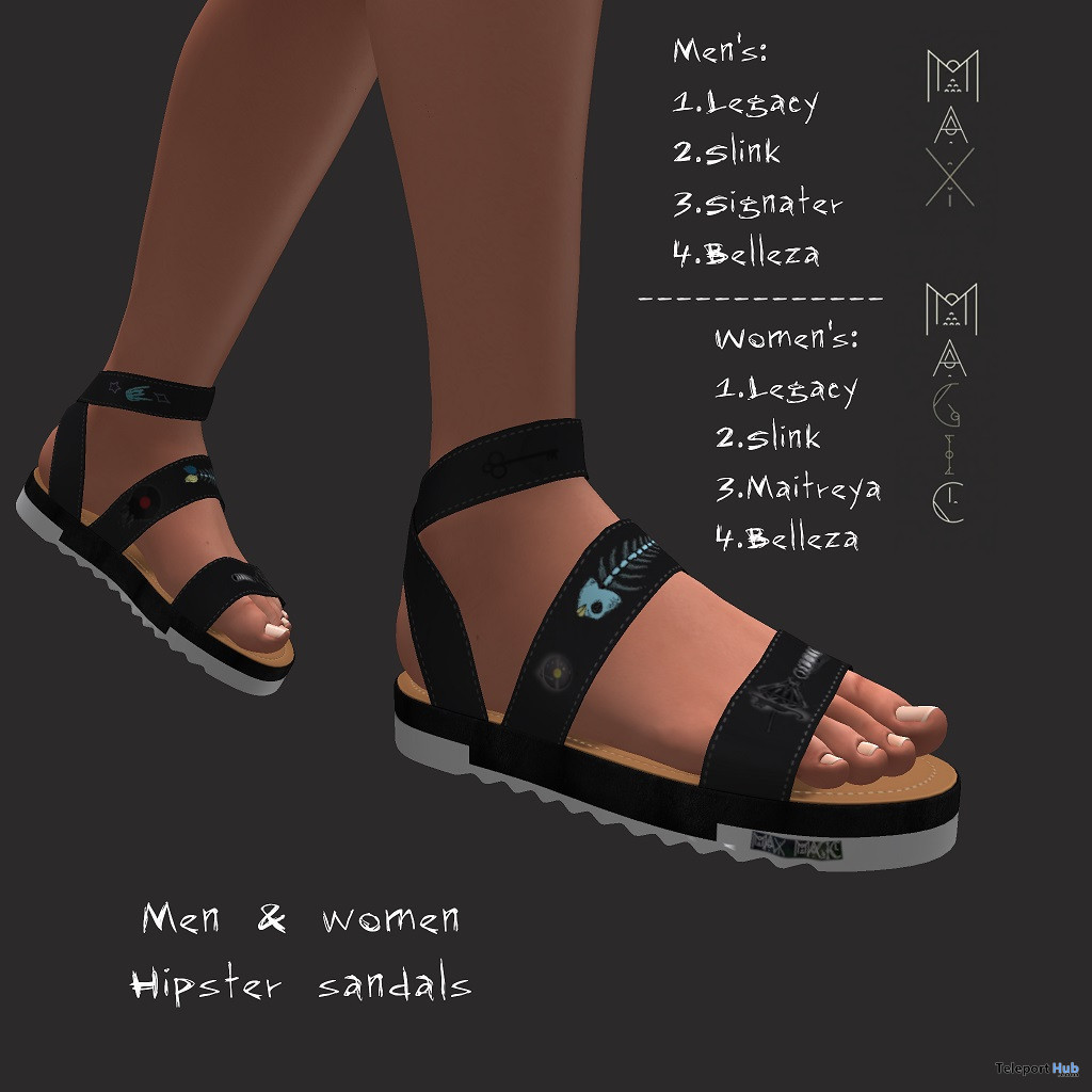 Hipster Sandals Black Unisex May 2021 Group Gift by Max Magic - Teleport Hub - teleporthub.com