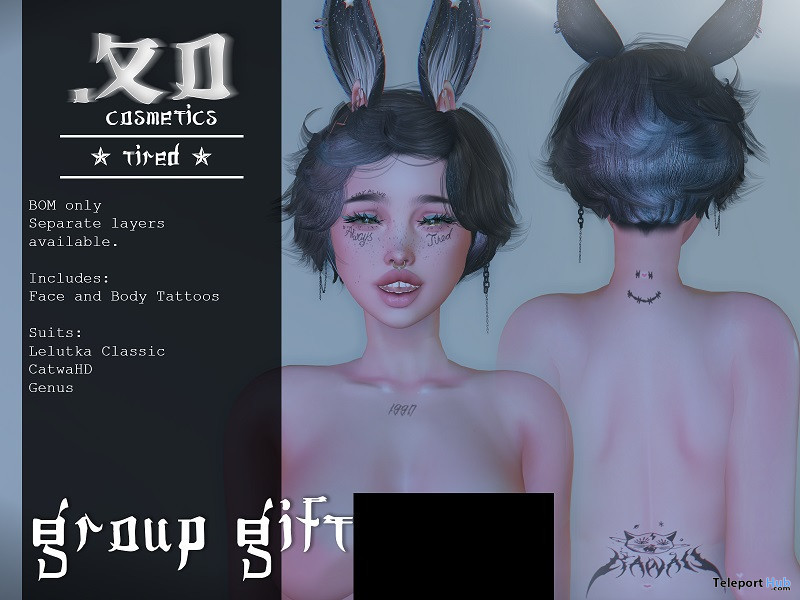 Tired Face BOM Tattoo May 2021 Group Gift by .XO Cosmetics - Teleport Hub - teleporthub.com