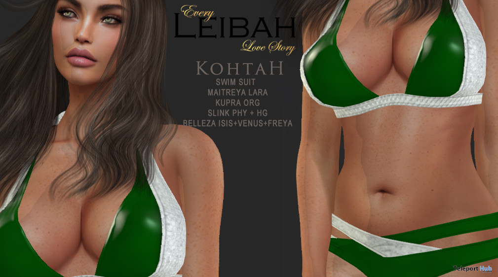 Kohtah Bikini In Green And Silver May 2021 Group Gift by Leibah - Teleport Hub - teleporthub.com