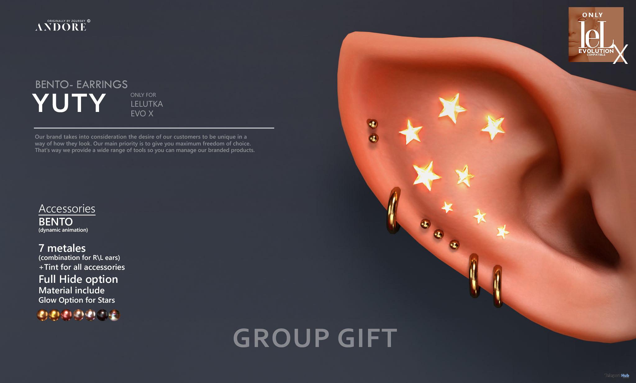 Yuty Bento Earrings June 2021 Group Gift by ANDORE - Teleport Hub - teleporthub.com