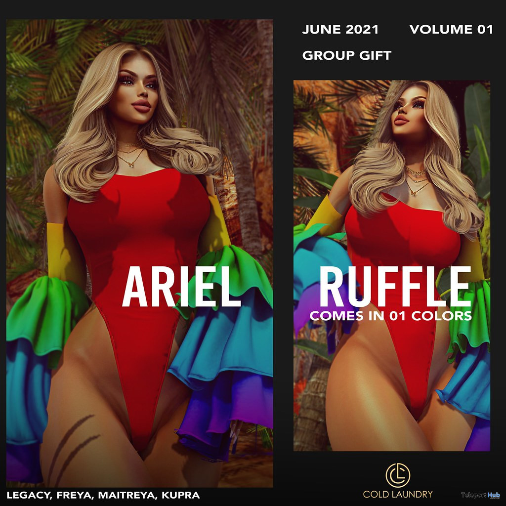 Ariel Pride Ruffle Bodysuit June 2021 Group Gift by Cold Laundry - Teleport Hub - teleporthub.com