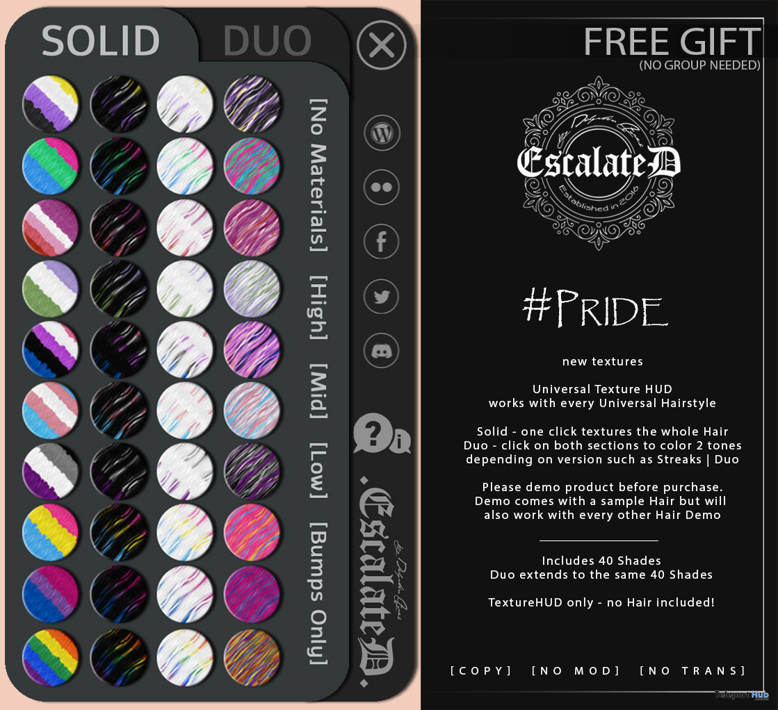 PRIDE Universal Hair Texture HUD June 2021 Gift by EscalateD - Teleport Hub - teleporthub.com