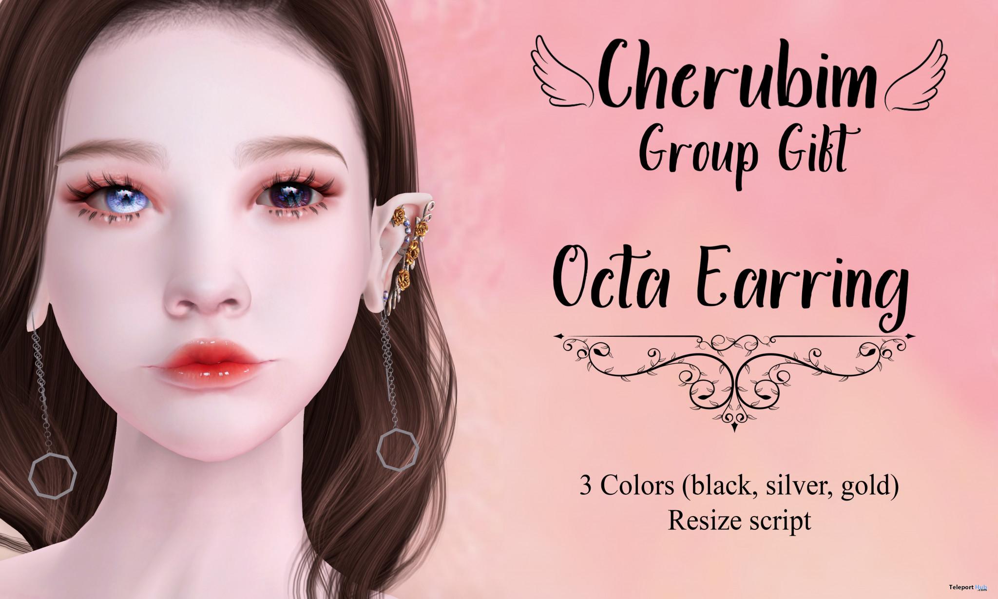 Octa Earrings June 2021 Group Gift by Cherubim - Teleport Hub - teleporthub.com