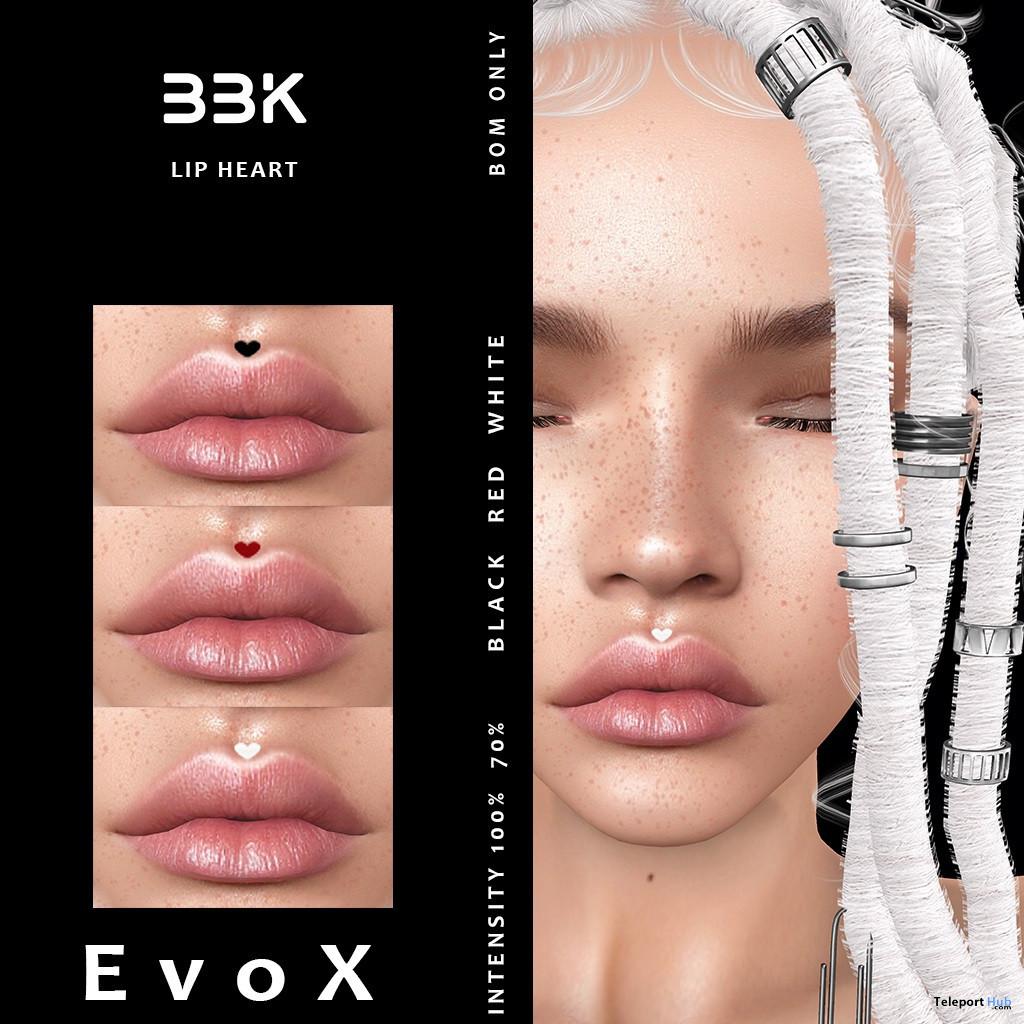 Lip Heart BOM Tattoo July 2021 Group Gift by BouBouKi - Teleport Hub - teleporthub.com