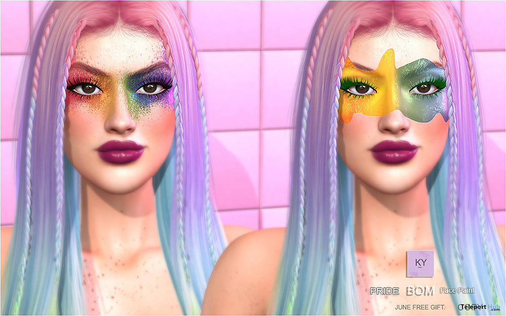 Pride Face Paint June 2021 Group Gift by KYMILE - Teleport Hub - teleporthub.com