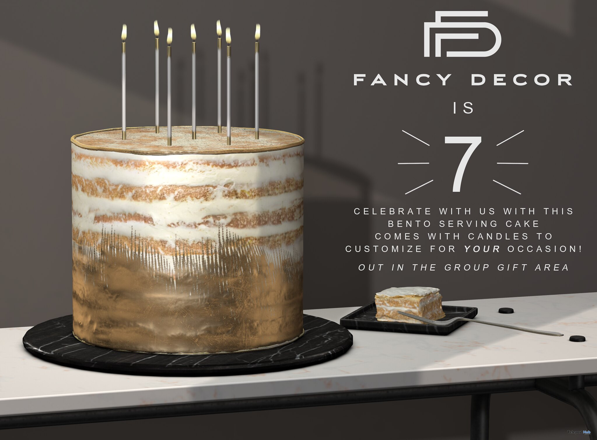 7th Anniversary Cake July 2021 Group Gift by Fancy Decor - Teleport Hub - teleporthub.com