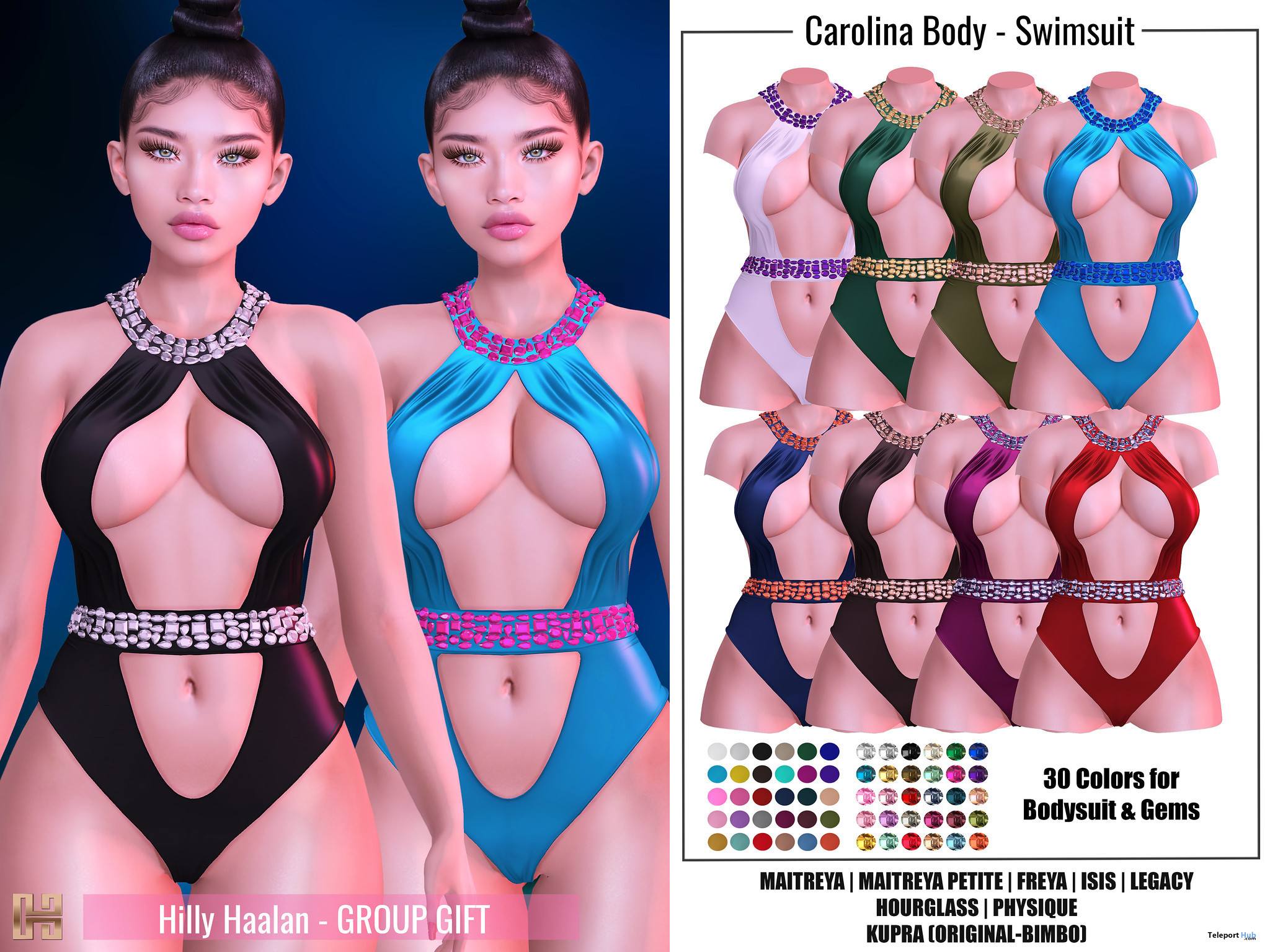 Carolina Bodysuit Swimsuit Fatpack August 2021 Group Gift by Hilly Haalan - Teleport Hub - teleporthub.com