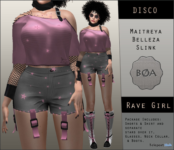Rave Girl Shorts Outfit Pink Teleport Hub Group Gift by BoA DeSiGN - Teleport Hub - teleporthub.com