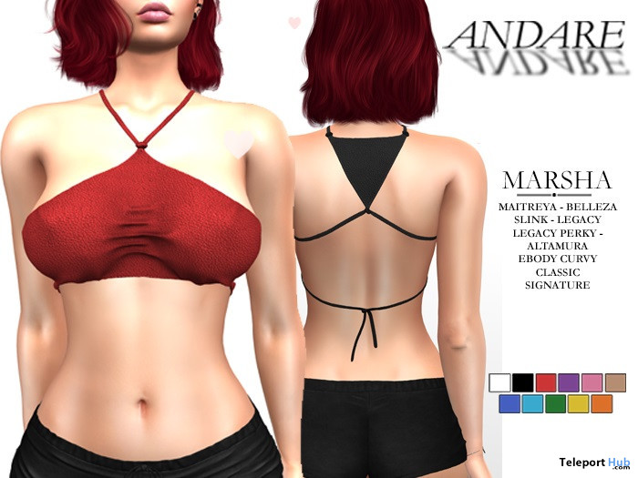 Marsha Leather Top Fatpack July 2021 Group Gift by ANDARE - Teleport Hub - teleporthub.com