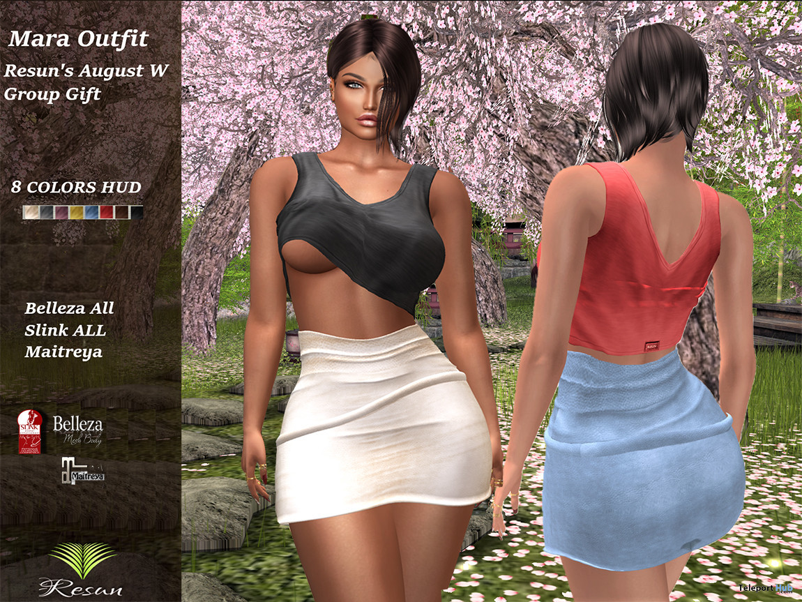 Mara Outfit August 2021 Group Gift by Resun Fashion Store - Teleport Hub - teleporthub.com