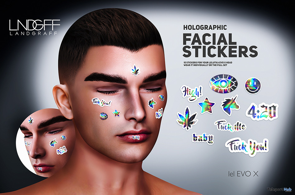 Holographic Facial Stickers For Lelutka EvoX September 2021 Group Gift by Landgraff - Teleport Hub - teleporthub.com